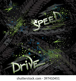 Abstract seamless grunge pattern for boy. Urban style modern background with trace of tire, lightning, dots and spray elements. Drive and speed modern creative wallpaper for guys.