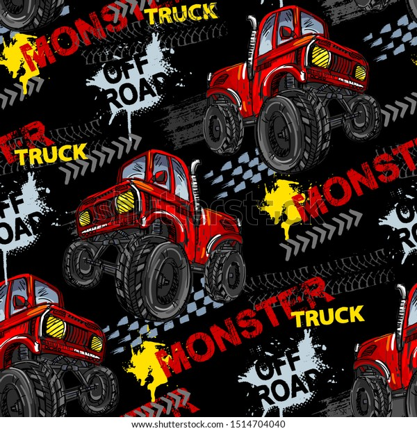 Abstract seamless grunge pattern for boy. Urban style modern background with Monster Truck car, trace of tire. Drive and speed modern creative wallpaper for guys. Extreme style
