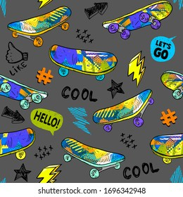 Abstract seamless grunge pattern for boys. Urban style modern background with skateboards. Cool style creative wallpaper for teenager