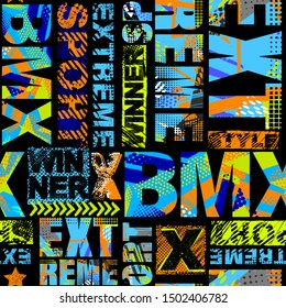 Abstract seamless grunge pattern for guys. Urban style modern background with with boy on bicycle BMX. Sport extreme style creative wallpaper