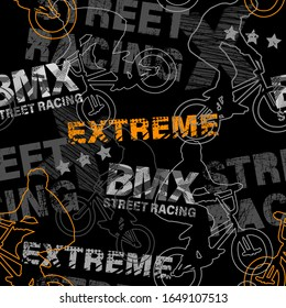 Abstract seamless grunge pattern for guys. Urban style modern background with boy on bicycle BMX and skateboards. Sport extreme style creative wallpaper