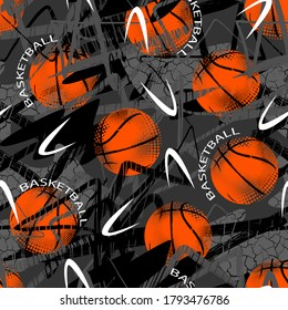Abstract seamless grunge pattern for guys. Urban style modern background with basketball . Sport extreme style creative wallpaper