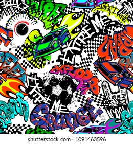 Abstract seamless grunge pattern with text drawing in graffiti style,  shabby spray paint ink, textured silhouette of ball, squares taxi flag ornament, speed sport car, fire, sign of hand, speedometer