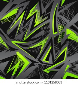 Abstract seamless grunge urban pattern. Monochrome cracker wall with across curved line, arrow, triangles. Grungy style wallpaper. Geometric repeated backdrop for boy, sport textile, clothes.