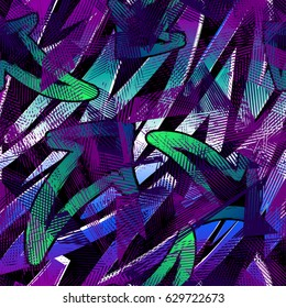 Abstract seamless grunge urban pattern with arrow, lines, graffiti, Shape textured elements, ink. Bright background. Geometric repeated backdrop for boys, textile, clothes. Original wallpaper