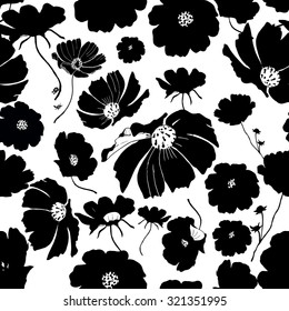 Abstract seamless hand painted background. Isolated black flowers. Vector illustration.