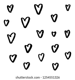 Abstract seamless heart pattern. Ink Marker illustration. Black and white.