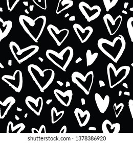 Abstract seamless heart pattern. Ink illustration. Black and white.