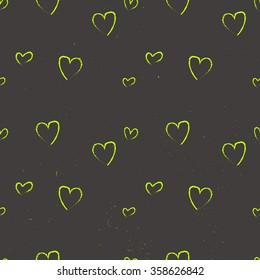 Abstract seamless heart pattern. Ink illustration. Black and white on chalkboard