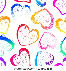 Abstract seamless hearts pattern on white background. Valentines day wallpaper. Chalk track. colorful romantic repeated backdrop for girl, textile, clothes, wrapping paper.