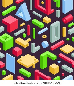 Abstract Seamless Hi-Tech Background with Colorful 3D Objects on Black. Modern Art Vector Concept. Mix of Geometric Cube Shapes in Funky Techno Style