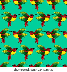 Abstract seamless hummingbird pattern for girls or boys. Creative vector background with hummingbird, colibri. Funny wallpaper for textile and fabric. Fashion colibri style. Colorful bright picture