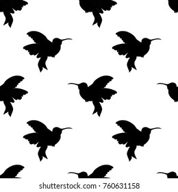 Abstract seamless hummingbird pattern for girls or boys. Creative vector background with hummingbird, birds. Funny wallpaper for textile and fabric. Fashion birds style. Monochrome bird picture
