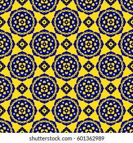 abstract seamless illustration - blue and black oriental bloom tiles in front of a yellow background