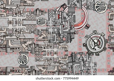 Abstract seamless industrial factory background with fantasy machines on rusty metal grating surface. Hand drawn.