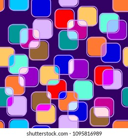 Abstract Seamless Iridescent Pattern with Rounded Squares. Colorful Spotted Mesh Structural Texture. Vector Illustration