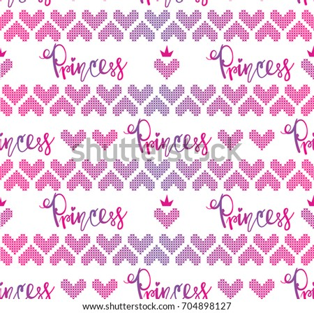 Abstract Seamless Knitted Hearts Pattern Hand Stock Vector Royalty