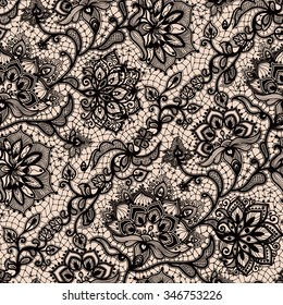 Abstract seamless lace pattern with flowers and butterflies. Infinitely wallpaper, decoration design, lingerie and jewelry. Invitation cards,wallpaper tile ornament.