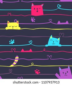 Abstract seamless line pattern with tread and heart, colorful cartoon cat. Smiling kitty. Happy animal character. Kitten paw. Childish repeated backdrop. Romantic wrapping paper. Valentine day