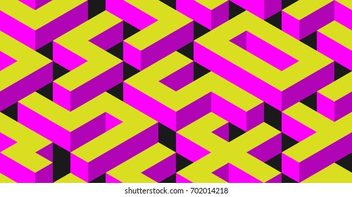 Abstract Seamless Maze Background with Different 3D Objects on Dark. Modern Art Vector Concept. Mix of Cube Shapes