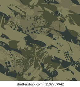 Abstract seamless military pattern. Monochrome camouflage repeated backdrop for textile, clothes, wrapping paper. army repeating ornament. war cracked grunge textured background