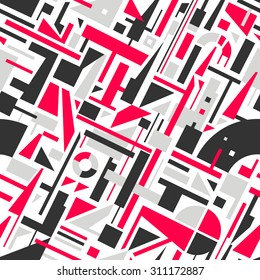 Abstract Seamless Modern Art Pattern for Textile Design. Mix of Geometric Shapes. Vector Illustration in Mosaic Style