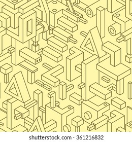 Abstract Seamless Modern Art Pattern for Textile Design. Mix of Monochrome Straight Lines and Simple 3D Objects on Yellow. Vector Illustration in Constructivism Style.