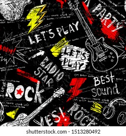 Abstract seamless modern pattern with guitar, headphones, spray paint, words rock star.  Abstract fashion drawing print design in hand drawing style.