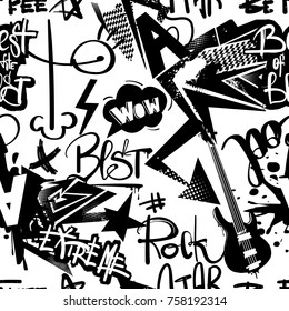 Abstract seamless modern pattern with guitar, spray paint ink, lighting sign, taxi flag , arrow, words wow, cool, extreme, rock star, best of the best, be free. Black and white repeated backdrop