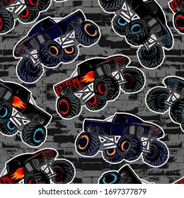 Abstract seamless Monster Truck car pattern on grunge shape cracked background with shabby dots and spray paint texture, ink. Boys style wheel auto repeated backdrop.