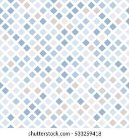 Abstract seamless mosaic on a white background. Shades of blue and beige.