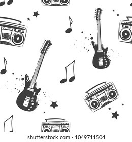 Abstract seamless music pattern with electro guitar, record player drawing in sketch style, notes, stars. mystical instrument repeated backdrop. Black and white iterative background