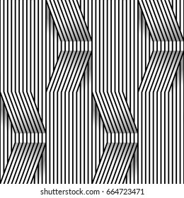 Abstract seamless op art pattern with rhombus monochrome graphic black and white ornament.