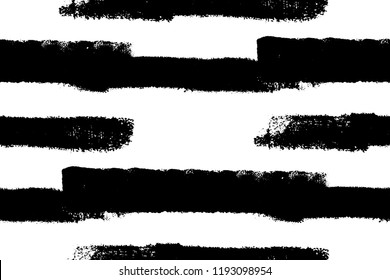 Abstract seamless paintbrush stroke pattern. Artistic monochrome black and white grunge endless background. EPS10 vector. Swatch included.