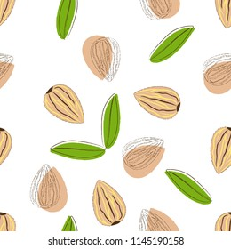 abstract seamless pattern with almonds and leaves on white, wallpaper with nuts, background with tasty and healthy food
