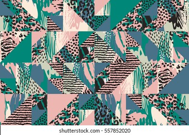 Abstract seamless pattern with animal print. Trendy hand drawn textures. Modern design for paper, cover, fabric, interior decor and other users.