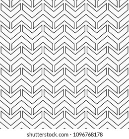Abstract seamless pattern of arrows. Rhythmic structure of herringbone. Monochrome stylish texture with chevron. Linear style. Vector geometric background.
