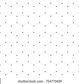 Abstract seamless pattern background. Hexagonal net of solid lines with dots in the cross points. Vector illustration.