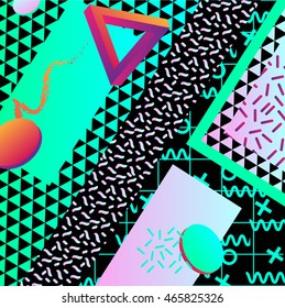 Abstract seamless pattern background. Retro 80s or 90s memphis geometric fashion style . Vector illustration 80s and 90s style.