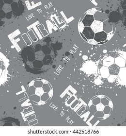 Abstract seamless pattern for boys. Football pattern. Grunge urban pattern with football ball. Sport wallpaper grey and white colors. Dark grunge background. repeated sport pattern.