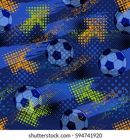 Abstract seamless pattern for boys. Football pattern. Grunge urban pattern with football ball. Sport wallpaper on blue background with green and orange arrows. Repeated sport pattern.