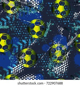Abstract seamless pattern for boys. Football pattern. Grunge urban pattern with football ball. Sport wallpaper on black background with white and blue and green. Repeated sport pattern.