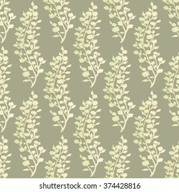 Abstract seamless pattern. Branches with leaves and flowers.