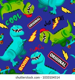 Abstract seamless pattern with cartoon dinosaurs, dinosaurs on skateboard,  lightning, littering cool, original.  for the web, textiles, fabric, wrapping paper, clothes, backpacks.