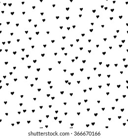 Abstract seamless pattern. Casual  dot wallpaper design element.Monochrome hand drawn texture with heart. Valentines day seamless