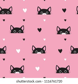 Abstract seamless pattern with cats and hearts. he with black cats for cloth, textiles, clothes, wallpaper, wrapping paper, backpacks, web