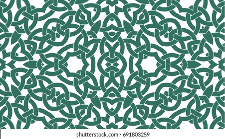 Abstract seamless pattern with celtic knot ornament of teal and white shades