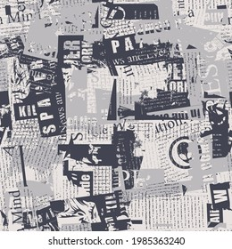 Abstract seamless pattern with chaotic layering of newspaper text, illustrations and titles. Monochrome repeating vector background in modern style, suitable for wallpaper, wrapping paper, fabric desi