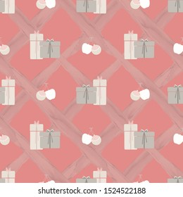 Abstract seamless pattern with christmas gifts, apples and ornaments on criss cross diagonal stripe background. Vector illustration in shades of cream, pink, sage and yellow. Ideal for gifts, paper.
