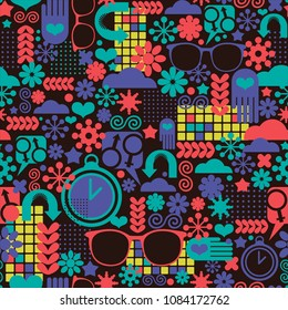 Abstract seamless pattern with clocks and design elements. Geometric wallpaper in vector style.
